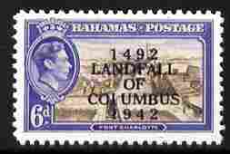 Bahamas 1942 KG6 Landfall of Columbus opt on Fort Charlotte 4d with COIUMBUS error  Maryland perf unused forgery, as SG 168a - the word Forgery is either handstamped or p..., stamps on maryland, stamps on forgery, stamps on forgeries, stamps on  kg6 , stamps on forts