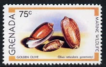 Grenada 1979 Golden Olive Shell 75c (instead of 60c)  'Maryland' perf 'unused' forgery, as SG 1011 - the word Forgery is either handstamped or printed on the back and comes on a presentation card with descriptive notes