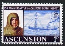 Ascension 1972 Shackleton & Quest 1p (instead of 4p)  'Maryland' perf 'unused' forgery, as SG 160 - the word Forgery is either handstamped or printed on the back and comes on a presentation card with descriptive notes
