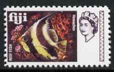Fiji 1968 Coralfish 6d (with Value omitted)  'Maryland' perf 'unused' forgery, as SG 376 - the word Forgery is either handstamped or printed on the back and comes on a presentation card with descriptive notes