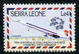 Sierra Leone 1984 Universal Postal Union Congress 4L Concorde  'Maryland' perf 'unused' forgery, as SG 797 - the word Forgery is either handstamped or printed on the back and comes on a presentation card with descriptive notes
