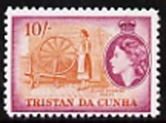 Tristan da Cunha 1954 Spinning Wheel 10s  'Maryland' perf 'unused' forgery, as SG 27 - the word Forgery is either handstamped or printed on the back and comes on a presentation card with descriptive notes