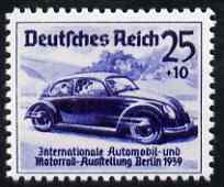 Germany 1939 Volkswagen Car 25pf + 10pf  'Maryland' perf 'unused' forgery, as SG 676 - the word Forgery is either handstamped or printed on the back and comes on a presentation card with descriptive notes