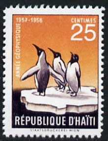 Haiti 1958 Penguin 25c (instead of 20c)