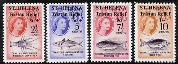 St Helena 1961 Tristan Relief set of 4  'Maryland' perf 'unused' forgeries, as SG 172-75 - the word Forgery is either handstamped or printed on the backs and set comes on a presentation card with descriptive notes