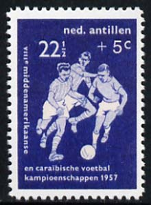 Netherlands Antilles 1957 Football 22.5c + 5c (instead of +7.5c)  'Maryland' perf 'unused' forgery, as SG 365 - the word Forgery is either handstamped or printed on the back and comes on a presentation card with descriptive notes