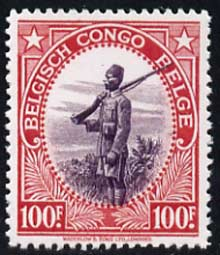 Belgian Congo 1942-43 Askari Sentry 100f  'Maryland' perf 'unused' forgery, as SG 250 - the word Forgery is either handstamped or printed on the back and comes on a presentation card with descriptive notes