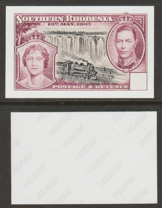 Southern Rhodesia 1937 KG6 Coronation 6d (with blank value tablet)  'Maryland' imperf 'unused' proof forgery, as SG 39 - the word Forgery is either handstamped or printed on the back and comes on a presentation card with descriptive notes