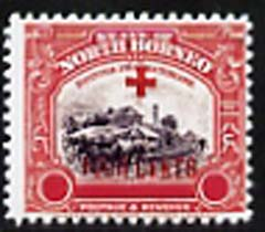 North Borneo 1918 Red Cross 3c Railway Station plus 4c (with blank value tablets)  'Maryland' perf 'unused' forgery, as SG 237 - the word Forgery is either handstamped or printed on the back and comes on a presentation card with descriptive notes
