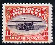 Bolivia 1924 Aviation School 10c (Morane-Saulnier Aircraft)  'Maryland' perf 'unused' forgery, as SG 170 - the word Forgery is either handstamped or printed on the back and comes on a presentation card with descriptive notes