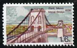 Great Britain 1968 Bridges 1s6d Menai Bridge with gold (Queen's Head) omitted  'Maryland' perf 'unused' forgery, as SG 765a - the word Forgery is either handstamped or printed on the back and comes on a presentation card with descriptive notes
