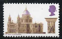 Great Britain 1969 British Architecture 9d St Paul's Cathedral with black (value) omitted  'Maryland' perf 'unused' forgery, as SG 800a - the word Forgery is either handstamped or printed on the back and comes on a presentation card with descriptive notes