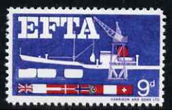 Great Britain 1967 EFTA 9d (Sea Freight) with black, brown, new blue & yellow omitted  'Maryland' perf 'unused' forgery, as SG 715a - the word Forgery is either handstamped or printed on the back and comes on a presentation card with descriptive notes
