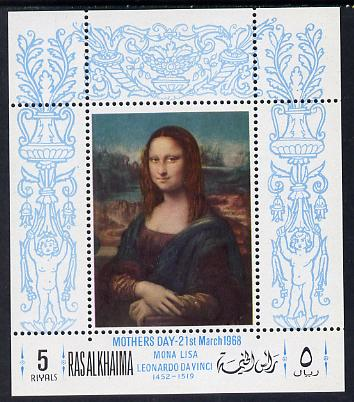Ras Al Khaima 1968 Mothers Day (Mona Lisa Painting) perf m/sheet unmounted mint Mi BL 40A