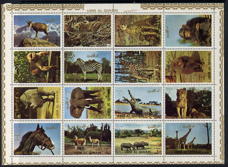 Umm Al Qiwain 1972 Animals #2 sheetlet containing 16 values unmounted mint (Mi 1002-17)