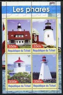 Chad 2003 Lighthouses #3 perf sheetlet containing 4 values unmounted mint