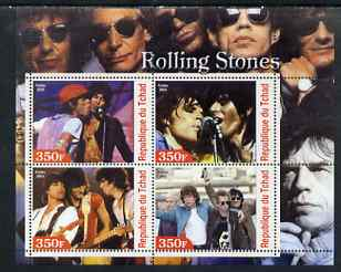 Chad 2003 Legendary Pop Groups - Rolling Stones perf sheetlet containing 4 values unmounted mint