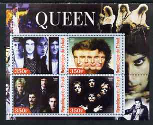 Chad 2003 Legendary Pop Groups - Queen perf sheetlet containing 4 values unmounted mint