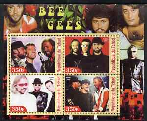 Chad 2003 Legendary Pop Groups - Bee Gees perf sheetlet containing 4 values unmounted mint