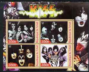 Chad 2003 Legendary Pop Groups - Kiss perf sheetlet containing 4 values unmounted mint
