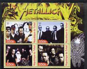 Chad 2003 Legendary Pop Groups - Metallica perf sheetlet containing 4 values unmounted mint