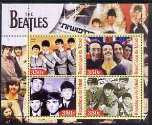 Chad 2003 Legendary Pop Groups - Beatles #3 perf sheetlet containing 4 values unmounted mint