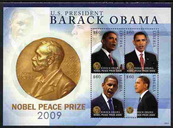 Liberia 2009 Barack Obama Wins Nobel Peace Prize perf sheetlet containing 4 values unmounted mint