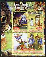 Chad 2003 The Cats of Louis Wain perf sheetlet containing 4 values unmounted mint