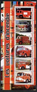 Benin 2003 Fire Engines #2 perf sheetlet containing 6 values unmounted mint, stamps on fire