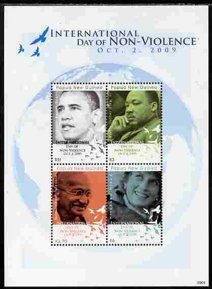 Papua New Guinea 2009 International Day of Non-Violence perf sheetlet containing 4 values unmounted mint