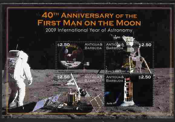 Antigua 2009 40th Anniversary of Moon Landing perf sheetlet containing 4 values unmounted mint