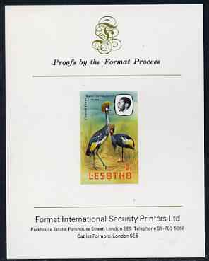Lesotho 1982 Crowned Crane 3s imperf proof mounted on Format International proof card (as SG 502)
