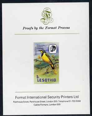 Lesotho 1982 Shrike 5s imperf proof mounted on Format International proof card (as SG 503)