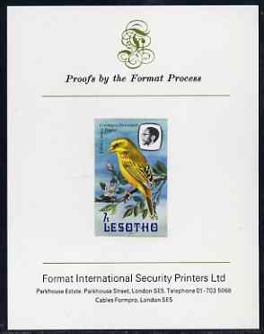 Lesotho 1982 Yellow Canary 7s imperf proof mounted on Format International proof card (as SG 505)