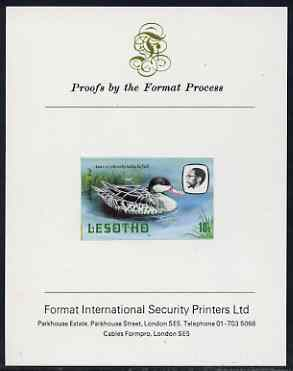Lesotho 1982 Red Billed Teal 10s imperf proof mounted on Format International proof card (as SG 506)