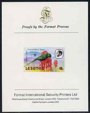 Lesotho 1982 Malachite Sunbird 40s imperf proof mounted on Format International proof card (as SG 508)