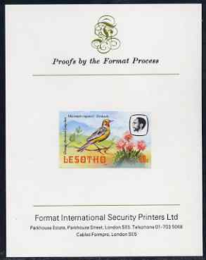 Lesotho 1982 Cape Longclaw 60s imperf proof mounted on Format International proof card (as SG 509)