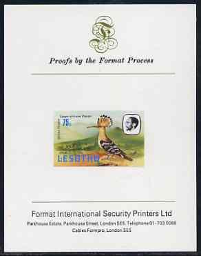 Lesotho 1982 Hoopoe 75s imperf proof mounted on Format International proof card (as SG 510)
