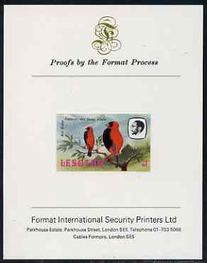 Lesotho 1982 Red Bishop M1 imperf proof mounted on Format International proof card (as SG 511)