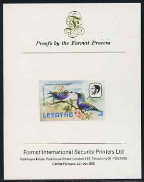 Lesotho 1982 Lilac Breasted Roller M5 imperf proof mounted on Format International proof card (as SG 513)