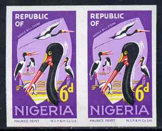 Nigeria 1969-72 Stork 6d reprint def by NSP&M Co imperf pair (previously unrecorded imperf) as SG 225, unmounted mint with slight wrinkling