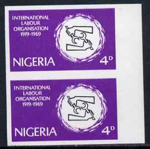 Nigeria 1969 50th Anniversary of International Labour Organization 4d imperf pair (previously unrecorded imperf) as SG 235, unmounted mint