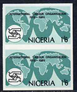 Nigeria 1969 50th Anniversary of International Labour Organization 1s6d imperf pair (previously unrecorded imperf) as SG 236, unmounted mint