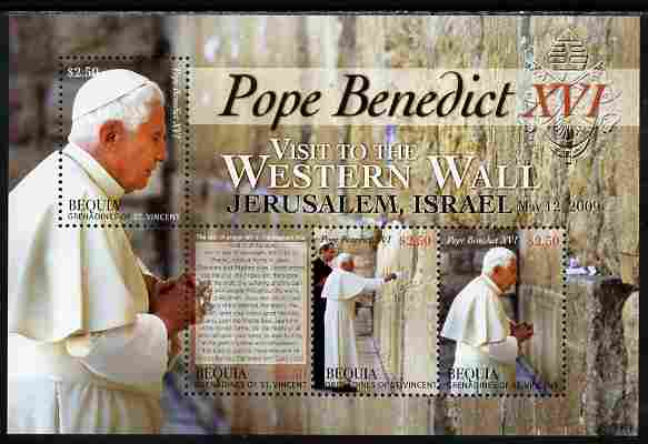 St Vincent - Bequia 2009 Pope Benedict visits Israel perf sheetlet containing 4 values unmounted mint