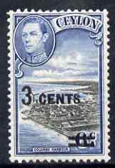 Ceylon 1941 KG6 Colombo Harbour 3c on 6c unmounted mint, SG 398*