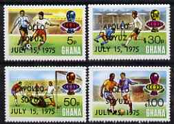 Ghana 1975 Apollo-Soyuz opt on World Cup Football set of 4 perf 13 unmounted mint, see note after SG MS743