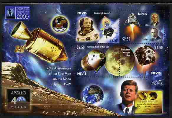 Nevis 2009 40th Anniversary of Moon Landing perf sheetlet containing 4 values unmounted mint