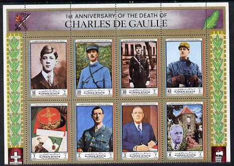 Ajman 1972 Charles de Gaulle perf set of 8 unmounted mint, Mi 2013-20A