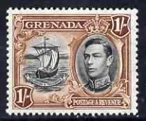 Grenada 1938-50 KG6 definitive 1s Badge of the Colony P13.5 x 12.5 unmounted mint, SG 160a, stamps on , stamps on  kg6 , stamps on ships