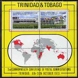 Trinidad & Tobago 1973 Conference of Postal Administrations perf m/sheet unmounted mint, SG MS 447
